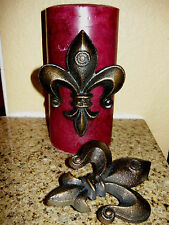Set 2 Cast Iron Fleur de Lis Candle Pin Tack Art Old World Tuscan French Crown