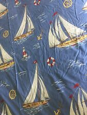 The Company Store Queen Duvet Cover Nautical Sailboats 100% Cotton