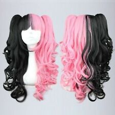 New Long Curly Black Pink Mixed Fashion  Anime Cosplay Wig  Ponytails