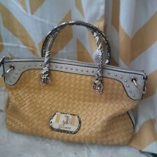 Guess Ladies yellow Woven Leather Reptile Print gold Studded Handbag Purse