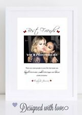 Personalised best friend photo print gift friendship quote besties A4 Print Only