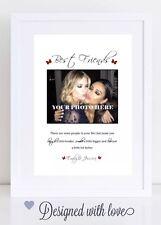 Mejor amigo de la foto Imprimir Regalo Personalizado Amistad cita toda impresión A4 sólo