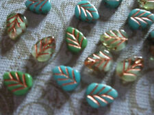 Czech Glass Beads Birch Leaf 10 x 8mm Turquoise & Green Mix w Copper Wash Qty 12