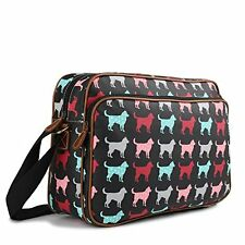 Miss Lulu Matte Finish Oilcloth Satchel Messenger Bag (Dog Black)