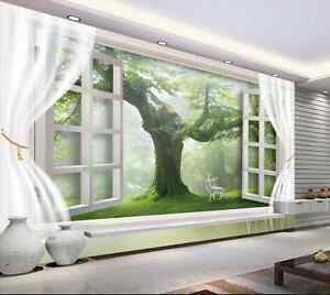 3D nebbia foresta Parete Murale Foto Carta da parati immagine sfondo muro stampa