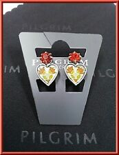 SALE PILGRIM SILVER EARRINGS RED SWAROVSKI CRYSTALS ENAMEL HEART DELICATE