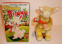 ALPS Japan Plush + Tin Litho Battery Op 1950s PICNIC BUNNY DRINKING RABBIT / BOX