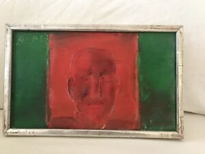 Mid Century Swedish Artist Alf Lindberg 1967 Portrait Oil Painting