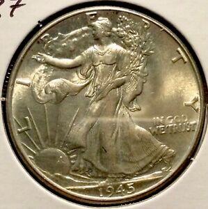 Stunning BU 1945 Walking Liberty Half Dollar - 3187