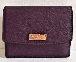 New Kate Spade New York Petty Laurel Way leather wallet Mahogany