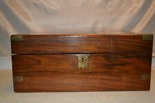 Antique Burled Walnut Victorian Folding Writing Slope Desk Brass Trim #298214