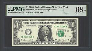 United State -Federal Reserve Note $ 1  2009  Fr#3000-B (BK Block) Grade 68