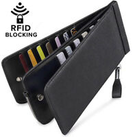 Men soft leather RFID Blocking Bifold Multi Card Case Wallet with Zipper Pocket