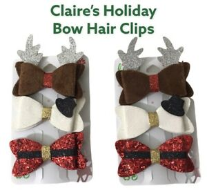 Claire's NEW 2 pack Christmas Holiday Bow Hair Clips Let It Glow Glitter 6 clips