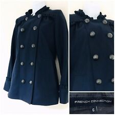 FRENCH CONNECTION Women's Coat Size 6 Wool Cashmere Warm Navy Blue Designer Arty