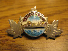 Victoria BC CPR Coastal Service Ship PRINCESS JOAN Silver and Enamel Brooch Pin