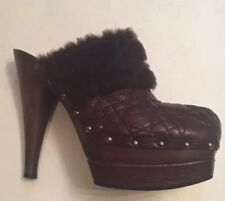 DIOR WOMENS CLOG PLATFORM BROWN QUILTED LEATHER HIGH HEEL SHEARLING ITALY 40 9.5