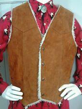 Deerskin Leather Shop Suede Vest Sherpa Lined USA Western Cowboy Rockabilly L