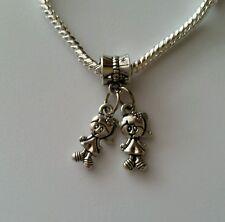 Little Girls Sisters Twins Babies Dangle Bead for Silver European Charm Bracelet
