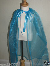 NEW GIRL Elsa Inspired Princess cape frozen sheer turquoise organza 2-6yrs