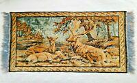 "Vintage Velvet Tapestry Fringe Edge Rug Wall Hanging Deer Buck Doe 22.5""× 44"""