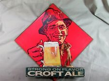 Vintage Wooden Croft Ale Advertising Sign with Golfer