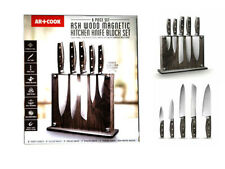 Knife Set Art and Cook 6-Piece Ash Wood Knife Set with Magnetic Block