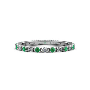 Emerald and Diamond French Set Womens Eternity Ring 0.65 ctw* 14K Gold JP:12718