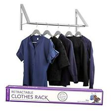 Retractable Clothes Rack Wall Mounted Folding Clothes Hanger Drying Silver