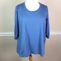 Avenue The Jersey Tee Womens Top Blue 3/4 Sleeve Cotton Size 30 32