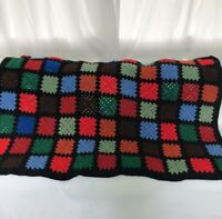 "Afghan Blanket Throw 65""x43"" Crochet GRANNY SQUARE Big Bang Style Black Blue Red"