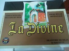 Ancienne plaque en glacoïde publicitaire pour la bière belge la Divine