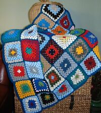 Hand Crocheted Wool Blend Granny's Square Blanket Single Bed Throw 128 X 88 cm