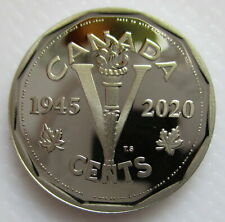 CANADA 2020 5 CENTS VE DAY 75TH ANNIVERSARY PROOF NICKEL HEAVY CAMEO COIN