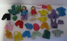 vtg Dollhouse wood Wooden Family Brother Sister-Real Fabric Clothes Dress Up Lot