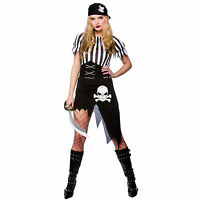 NEW Ladies Shipwrecked Pirate Fancy Dress Party Costume Outfit