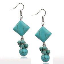 Cute New Tibetan Silver Turquoise Bead Kite Style Dangle Drop Earrings