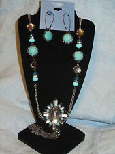 SIMPLY VERA WANG NWT $58 women's necklace earrings set long silver turquoise