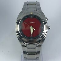Fossil Mens AM-3847 BIG TIC Silver Tone Stainless Steel Red & Black Dial Watch