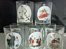 Vintage Clear Norman Rockwell The Saturday Evening Post Glassware Lot of 8