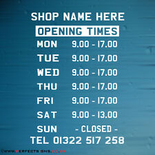 Opening Hours Times Sign Shop Name Window Wall Custom Vinyl Sticker Small Decal
