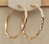 Retro Big Gold Hoop Earring Women Simple Circle Dangle Drop Jewelry Anti Allergy