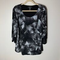 Style & Co. Women's Top Size XL 3/4 Fringe Sleeves Casual Dressy Black White