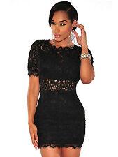 Abito cono aperto ricamato pizzo nudo trasparente Lace Crochet Mini Club Dress M