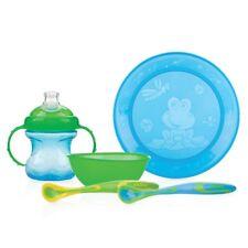 Nuby Tischware Set Mahlzeit Zeit Teller Schüssel Tasse 2 x Löffel in blau/grün