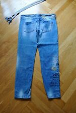 Desigual New and good Jeans used Look 42 Boyfriend hell blau Hosenträger