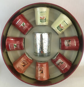 Yankee Candle Samplers Votive Candle Tin Set with Lid & 4 Variety Of Scents-New-