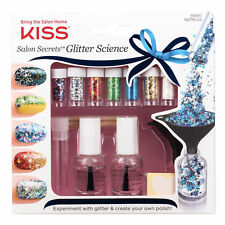 KISS SALON SECRETS GLITTER SCIENCE NAIL ART STARTER  KIT 7 X GLITTER 66687