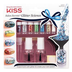 KISS SALON SECRETS GLITTER SCIENCE NAIL ART STARTER  KIT 7 X GLITTER 66687