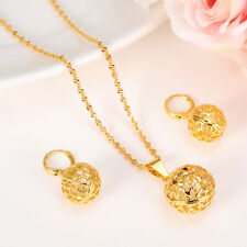 Real 24K Yellow Fine Gold GF women Round Ball Pendant chain Earrings set Jewelry
